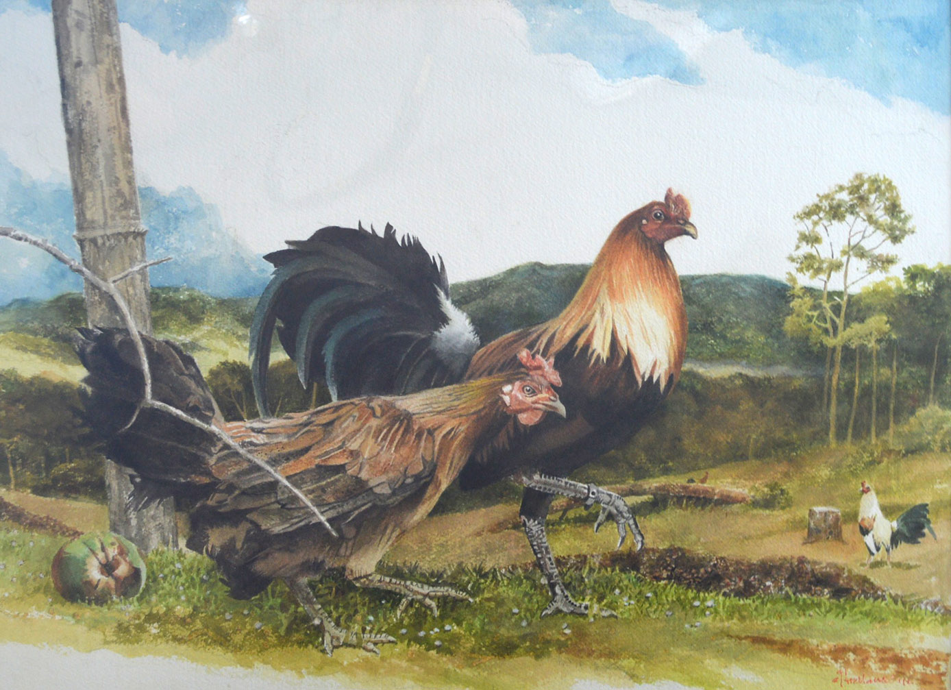 Three Cocks & Hen